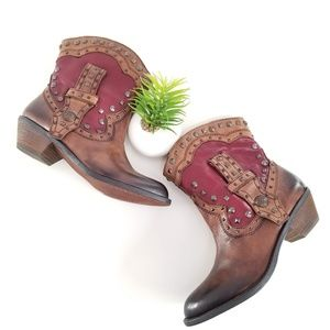 Vince Camuto Madalissa Studded Cowboy Booties NEW